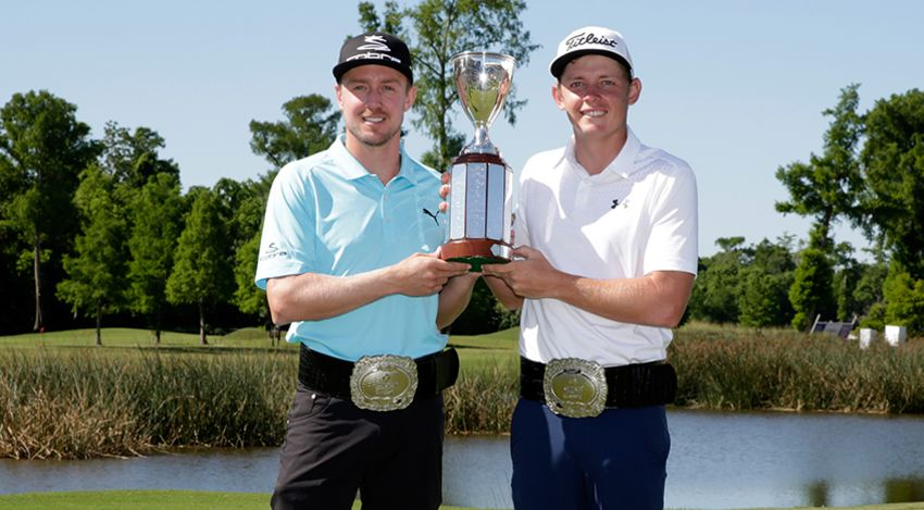 Jonas Blixt and Cameron Smith with Zurich trophy