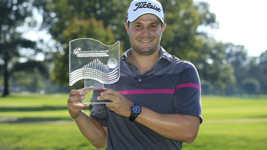 Peter Uihlein with Nationwide trophy