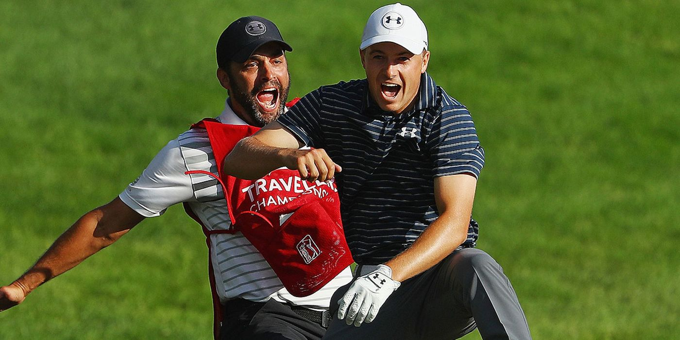 Jordan Spieth and Michael Greller go nuts after hole-out from bunker