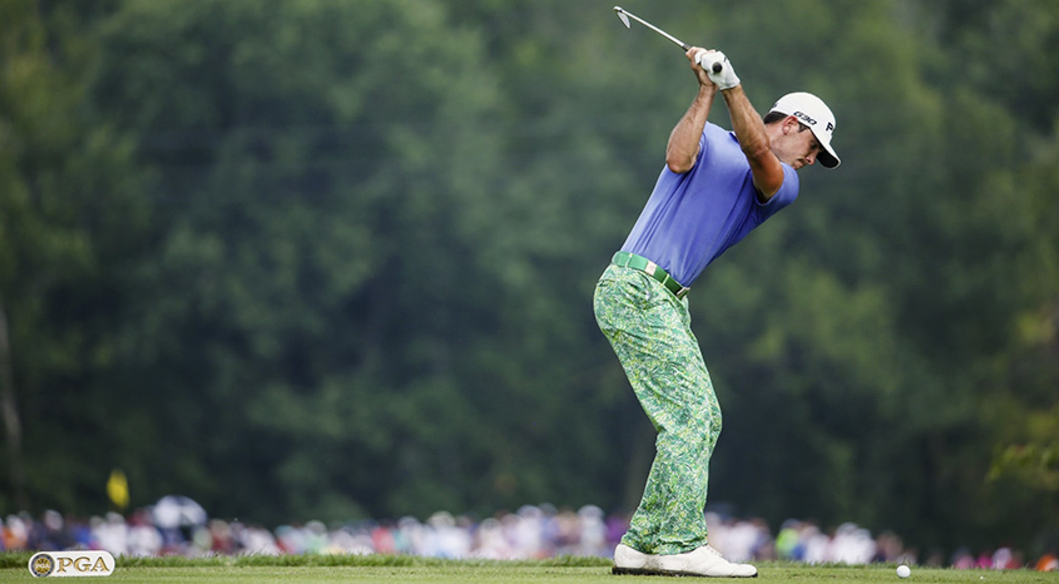 884f5436d03 Billy Horschel was on point with his patterned pants and solid polo pairing  at the 2014