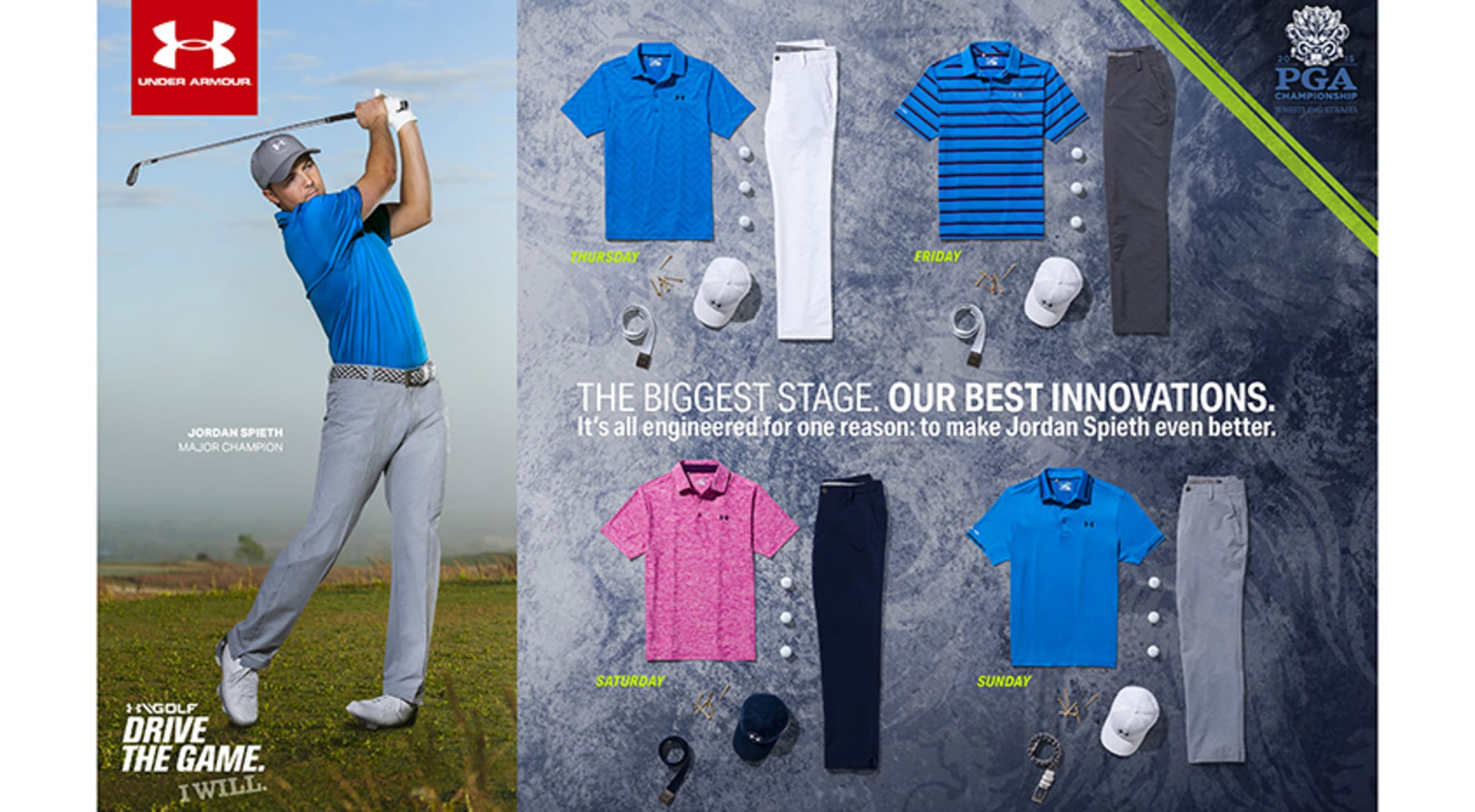 8e576283ec03 Jordan Spieth will be sporting a variety of looks from Under Armour as he  tries for