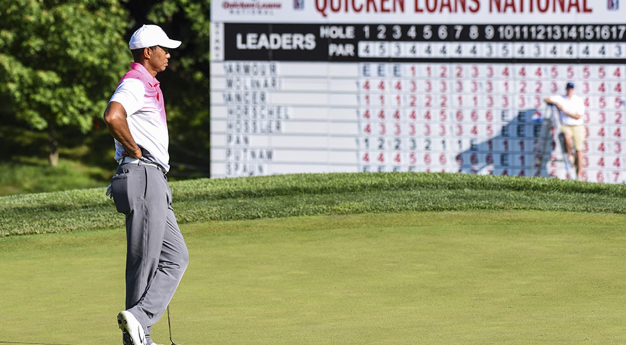 Landry, Spaun lead Quicken Loans National as Woods' putting