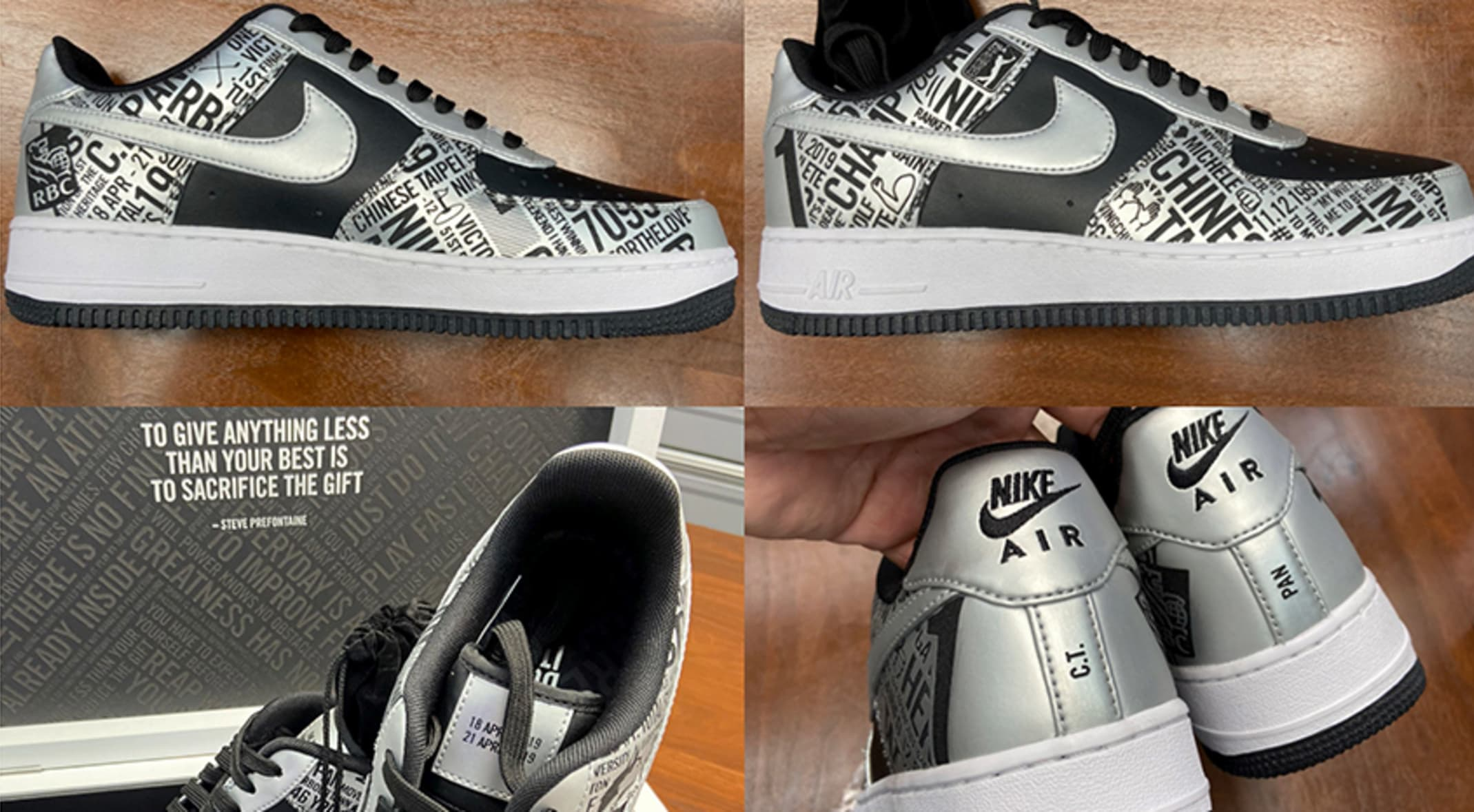 Pan's custom Nike Air Force 1 'First Win Edition' shoes