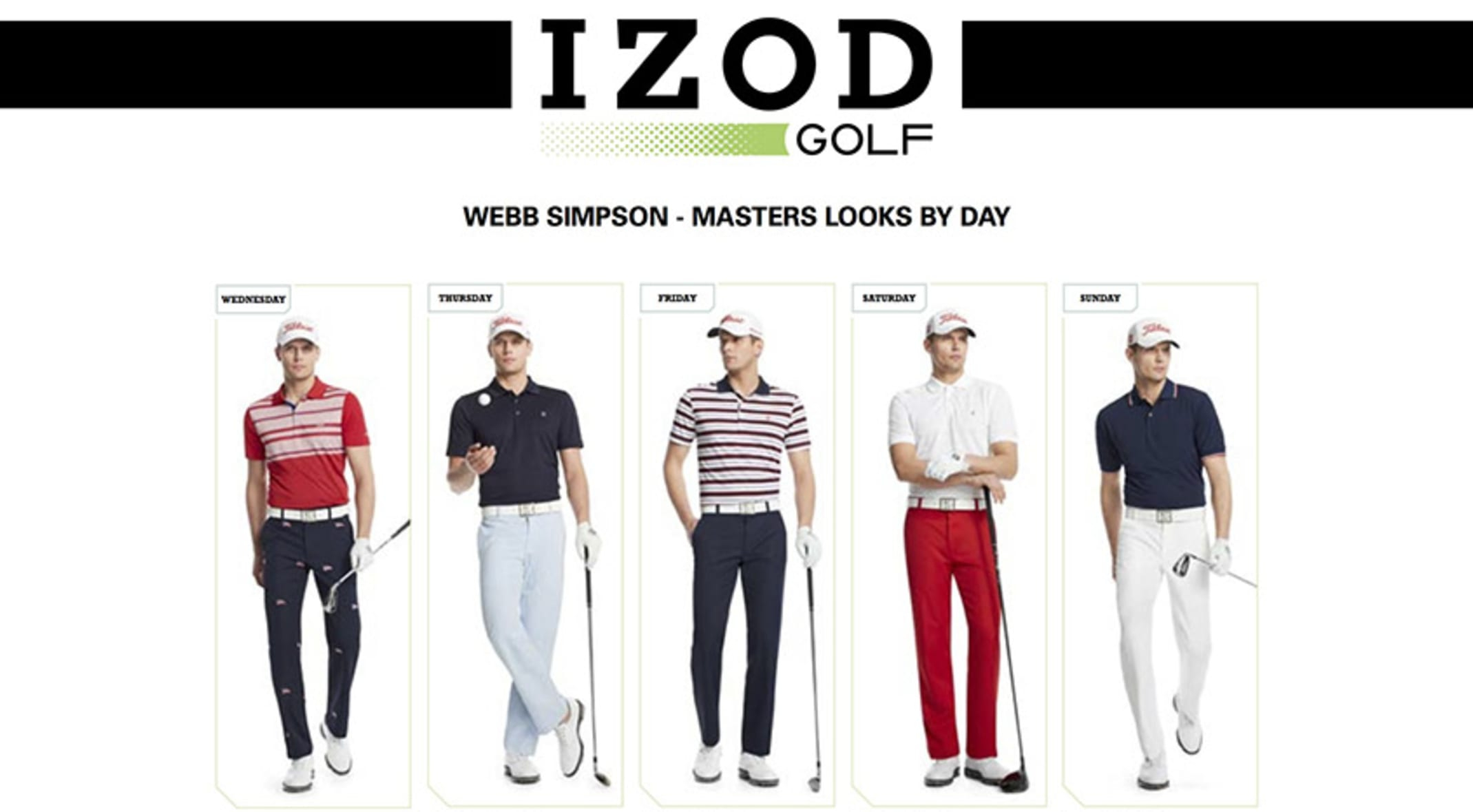 2f9edbc45 Webb Simpson's Masters apparel script features IZOD Golf's latest high tech  fabrics and classic looks (