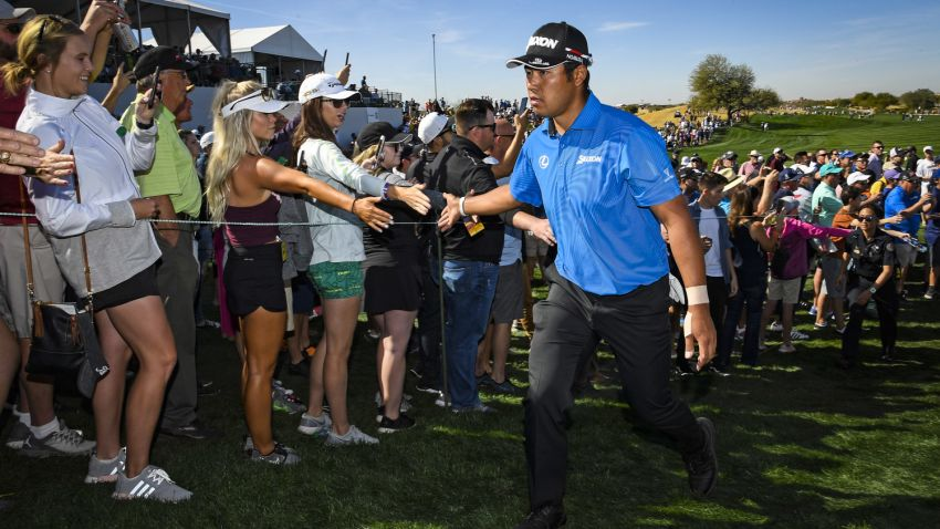 Hideki Matsuyama withdrew prior to hitting a shot in the second round. (Getty Images)