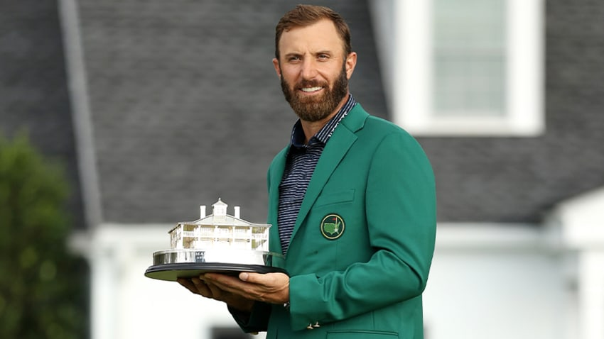 Dustin Johnson with the Masters trophy and Green Jacket