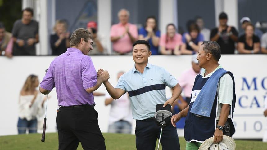 Entre el estadounidense Matt Gilchrest y el argentino Thomas Baik se definirá el cuarto campeón de la temporada 2018. (Enrique Berardi/PGA TOUR)