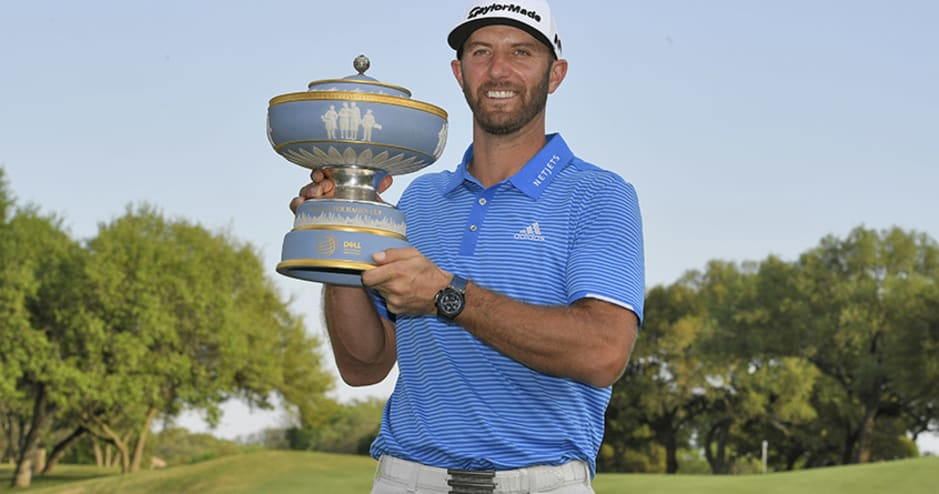 Dustin Johnson with 2017 Dell Match Play trophy