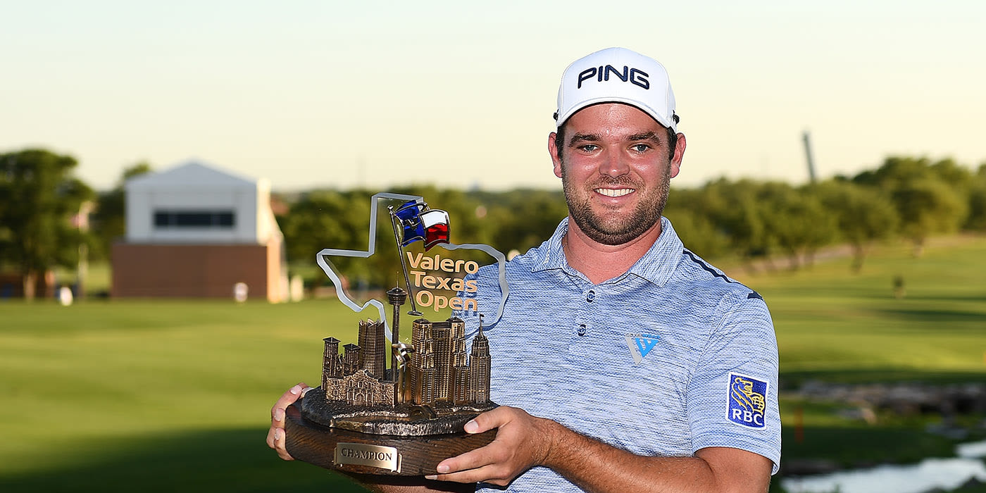 Corey Conners with his Valero Texas Open trophy