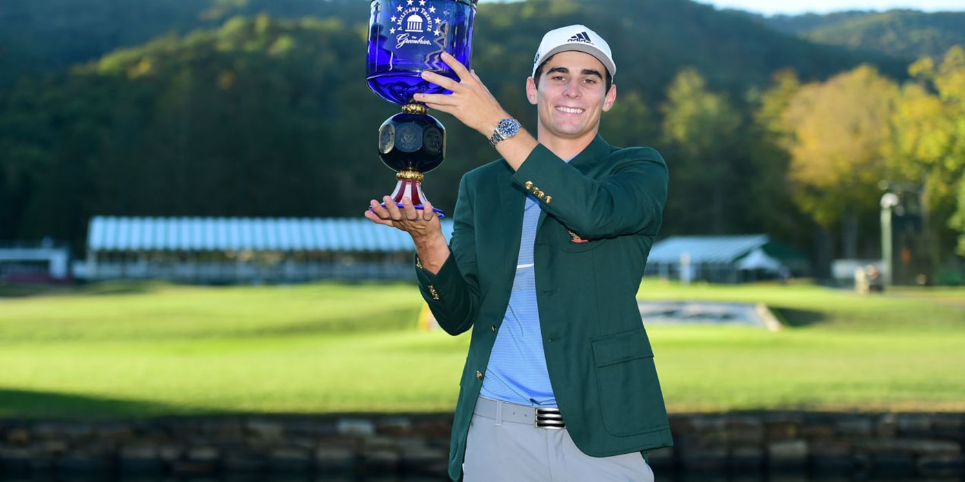 Joaquin Niemann with the Greenbrier trophy