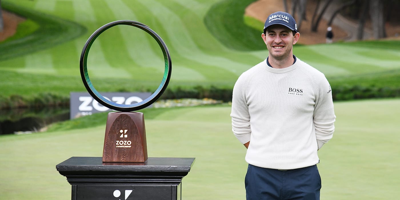Patrick Cantlay with the ZOZO trophy