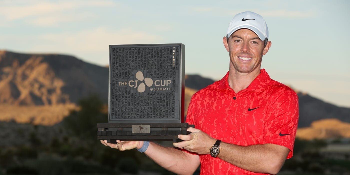 Rory McIlroy with CJ Cup trophy