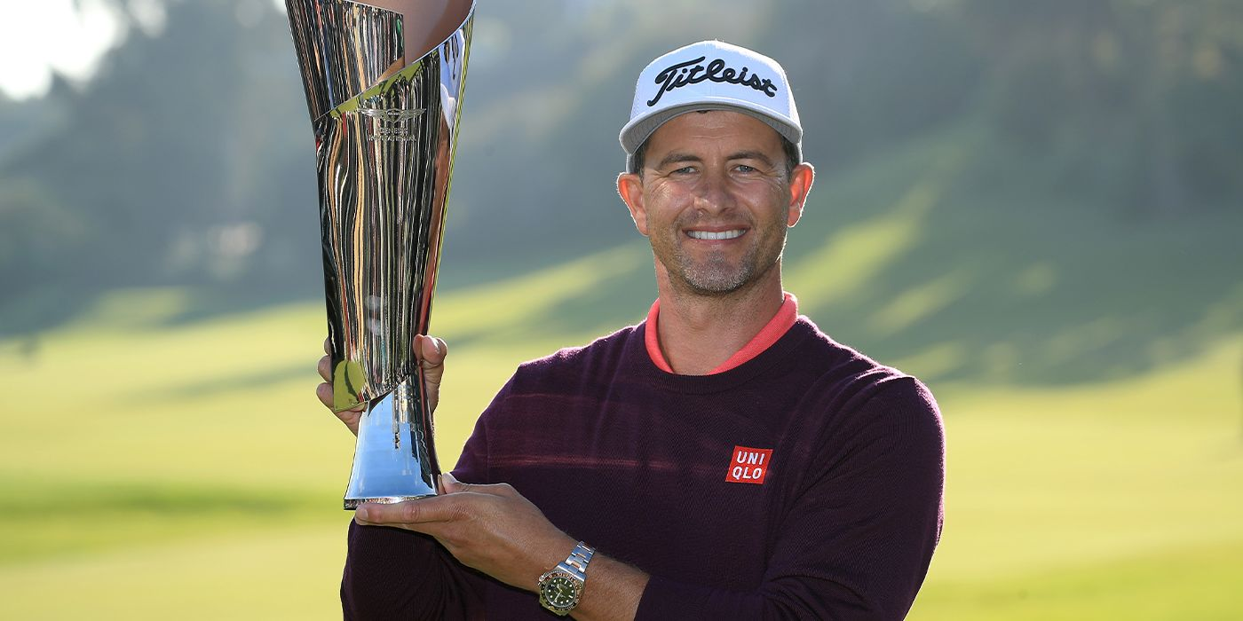 Adam Scott with the Genesis trophy