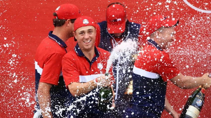 U.S. Team celebrates winning Ryder Cup