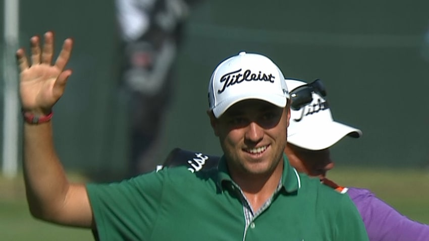Justin Thomas' eagle on No. 18 is the Shot of the Day