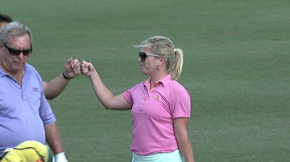 gretchen and fuzzy zoeller birdie no  18 at pnc father  son
