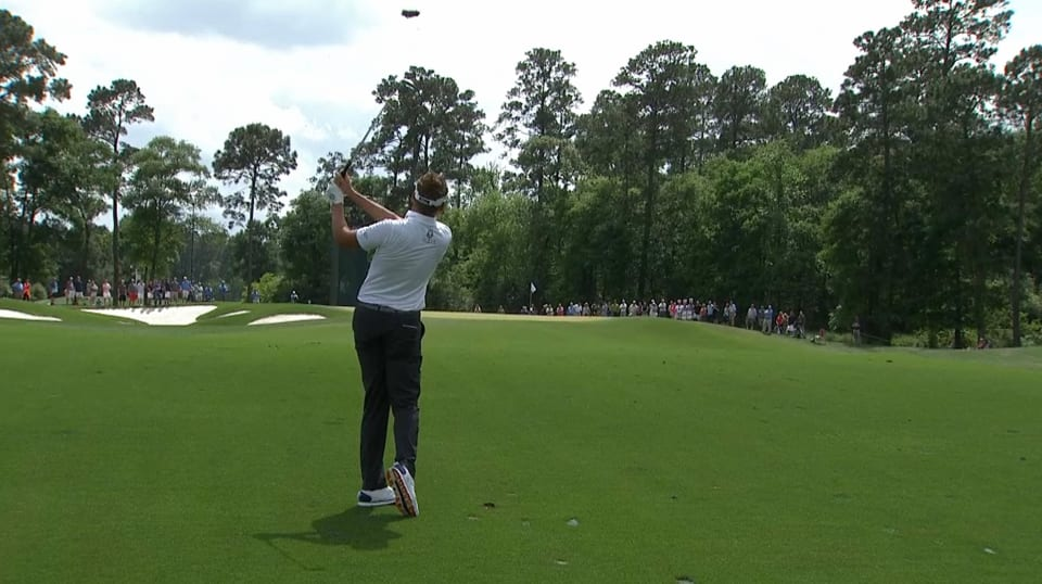 Ian Poulter's approach hits flagstick on No. 10 at Houston Open