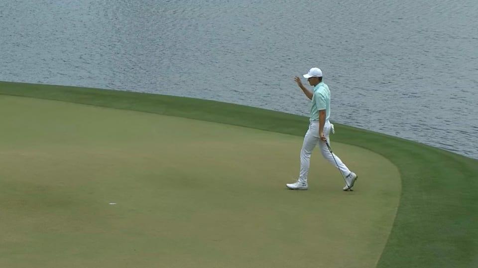 Jordan Spieth's birdie putt from the fringe at Houston Open