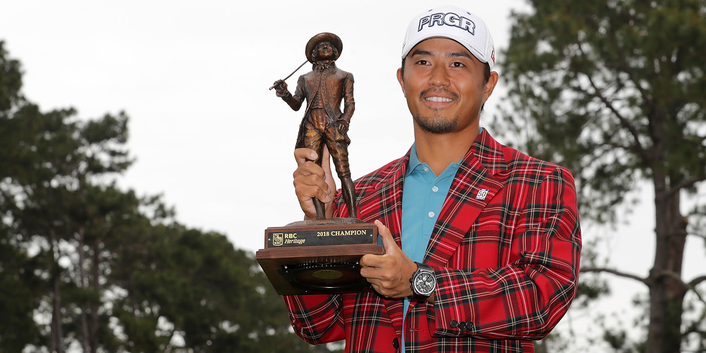 Satoshi Kodaira with RBC Heritage trophy and plaid