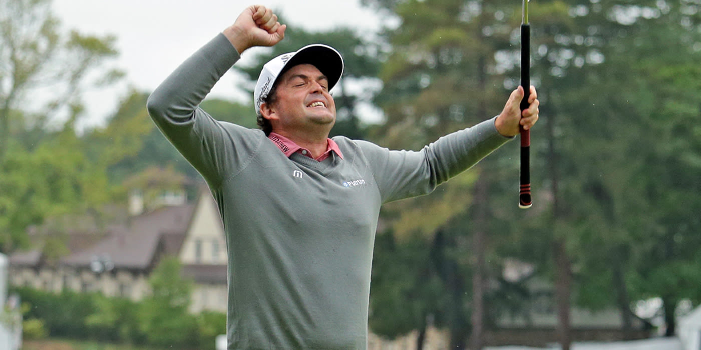 Keegan Bradley celebrates winning putt on first playoff hole