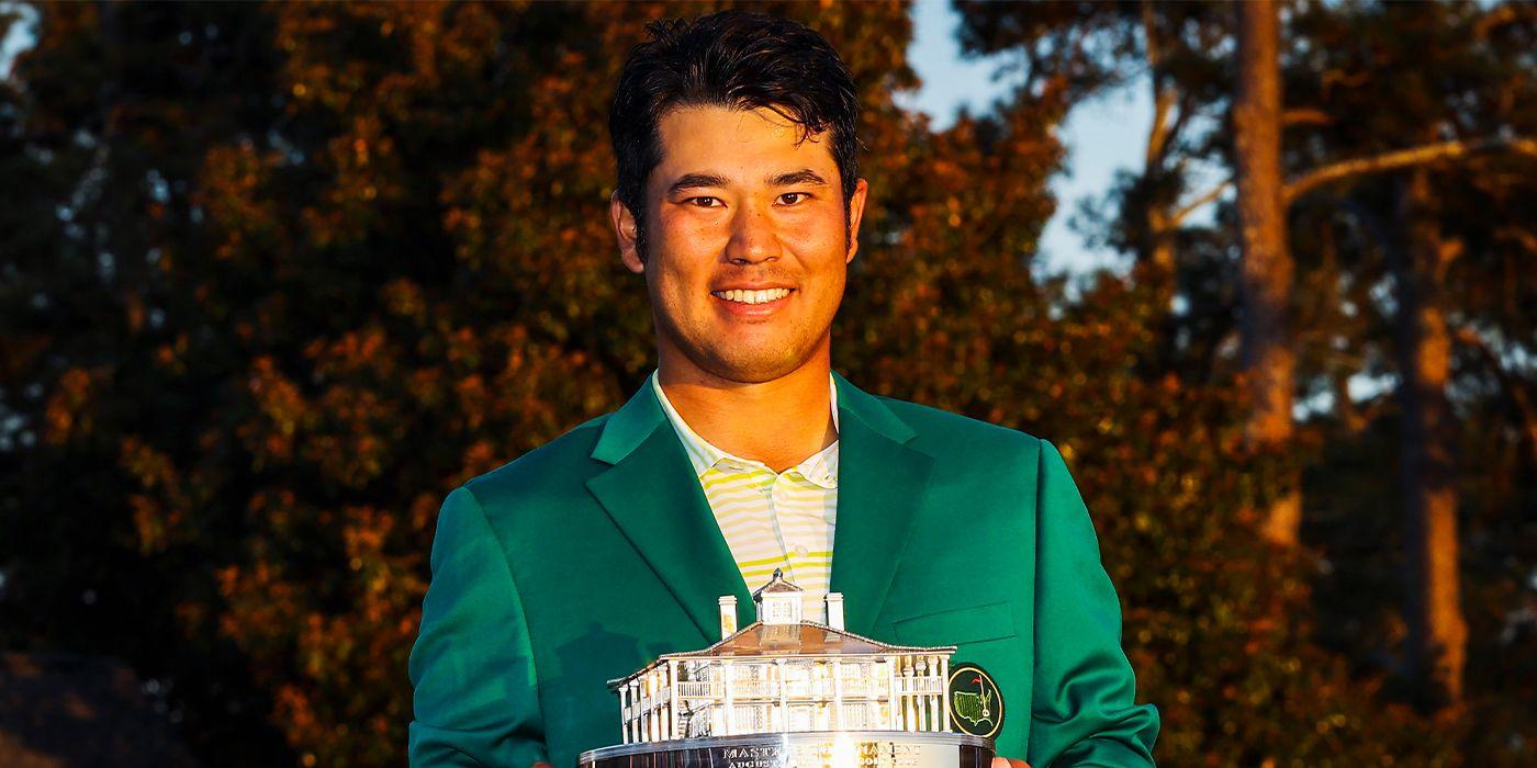 Hideki Matsuyama with Master trophy and Green Jacket