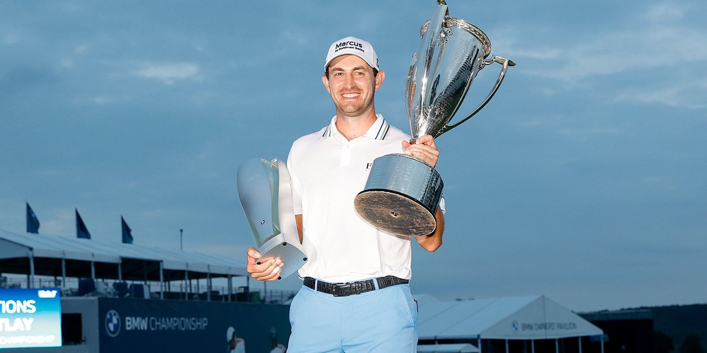 Patrick Cantlay with both BMW trophies