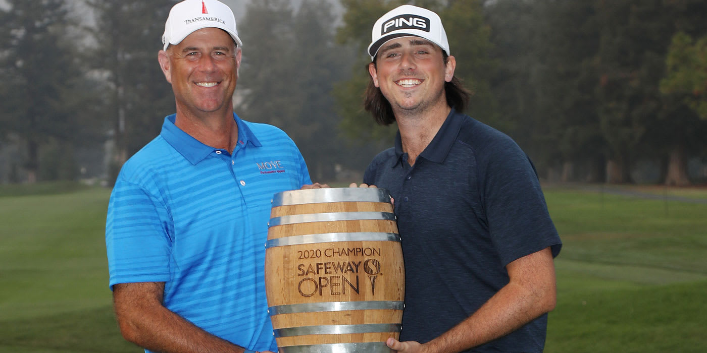 Stewart Cink with Safeway trophy and son/caddie Reagan