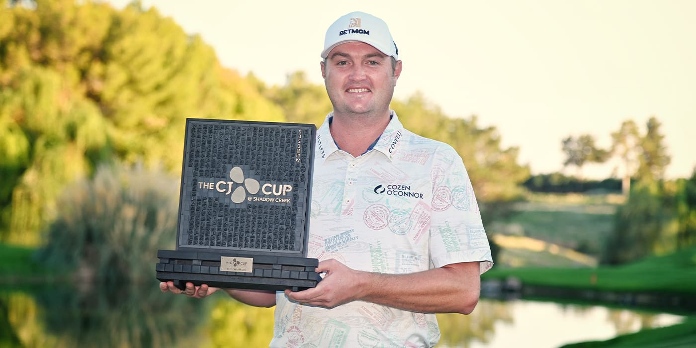 Jason Kokrak with the CJ Cup trophy