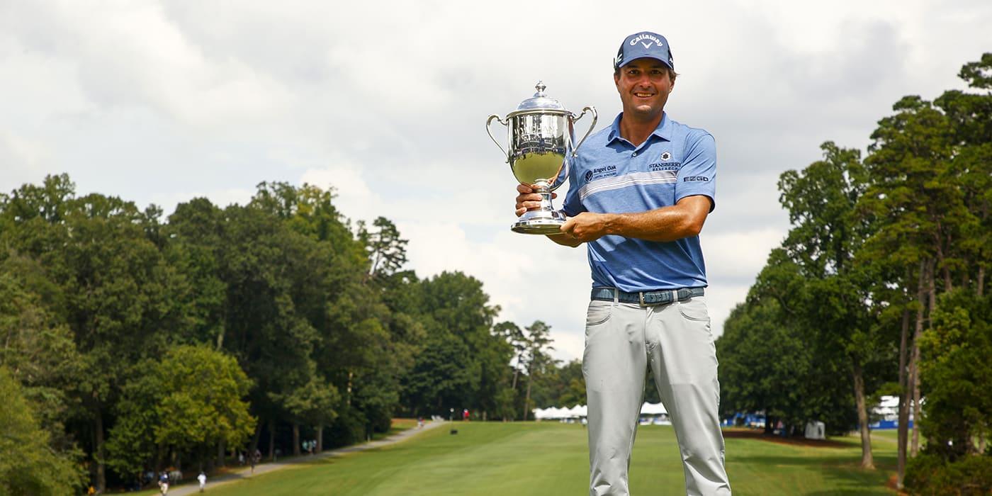 Kevin Kisner with the Wyndham trophy