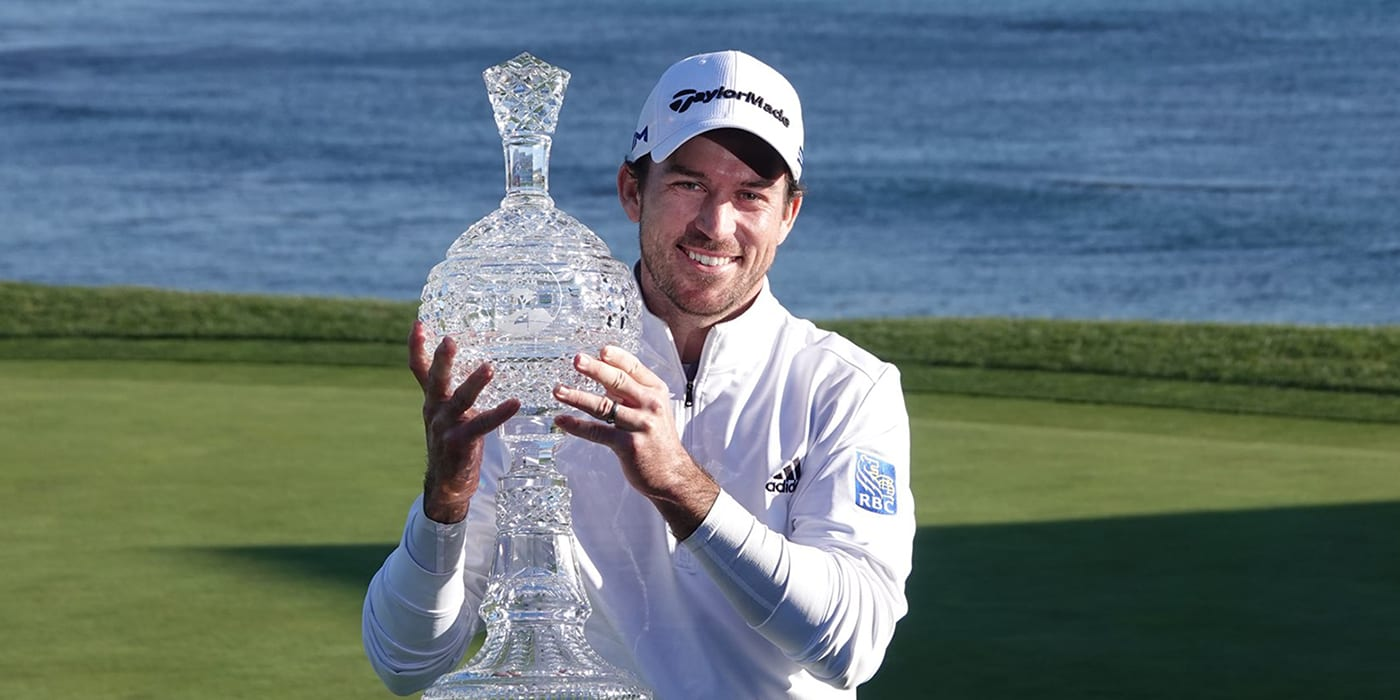 Nick Taylor with AT&T trophy
