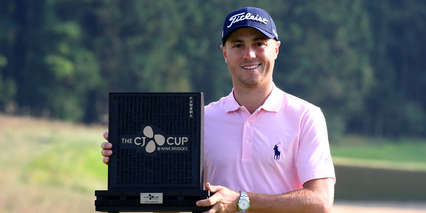 Justin Thomas with the CJ Cup trophy