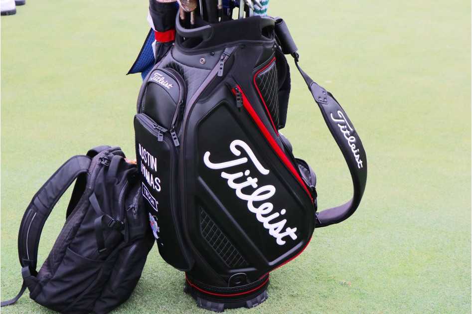 A look at Titleist's new staff bags. This one belongs to Justin Thomas.