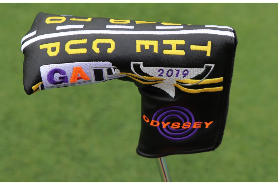 Here's a look at the custom blade FedExCup Playoff headcover from Odyssey, which shows a Georgia FedEx truck, in addition to New Jersey and Illinois trucks on the other side.