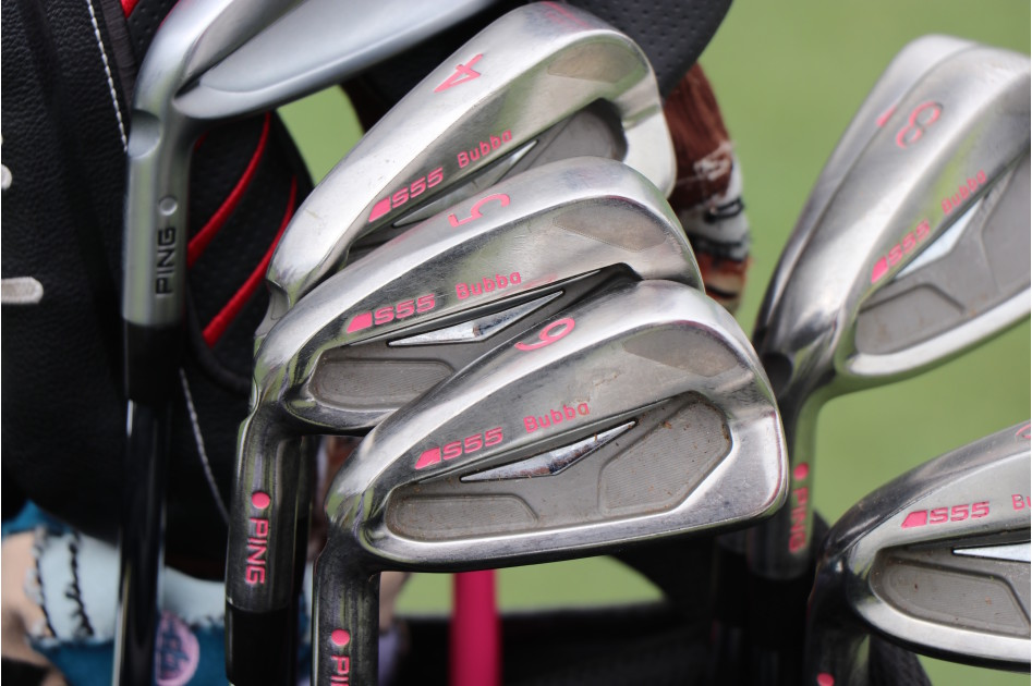 Bubba Watson is still gaming custom Ping S55 irons with pink paintfill. He also has a Ping iBlade 2-iron in the bag, as well.