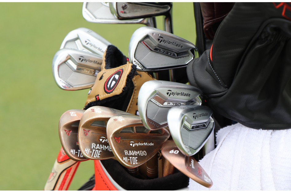A look at Jon Rahm's setup on Tuesday shows he has a number of TaylorMade Hi-Toe wedges in the bag, including two 60-degree wedges that he's deciding between. He also has P-750 Tour Proto irons and an old RSi 4-iron.
