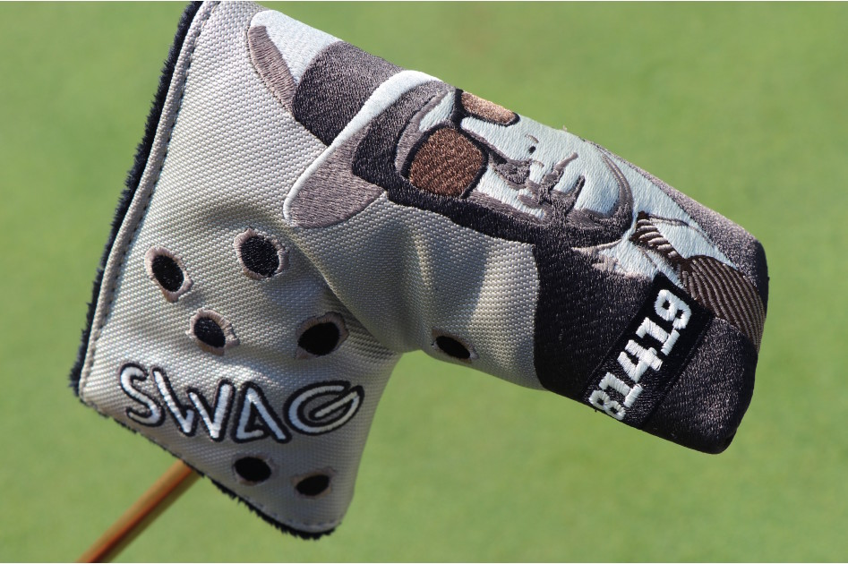 An Al Capone-inspired putter cover from Swag Golf. Capone was a gangster in the nearby Chicago area down the road from Medinah.
