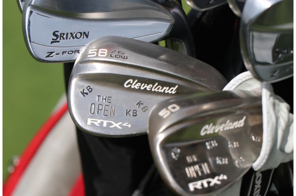 "Keegan Bradley's Cleveland RTX4 wedges have his initials and ""The Open"" stamped on their cavities."